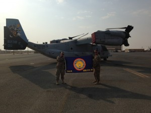Brother Dan Dawson and a fellow Airman proudly display the IBEW LU 614 flag on station in Kuwait. The flag was presented just before his departure. Happy Veterans Day to all active and retired service members!