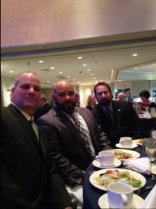Seated at LU 614's sponsorship table and enjoying their well deserved recognition and a fine dinner are from left to right, Veterans Mike Anderson USMC, Jorge Revera US Army and Mark Abbott USMC.